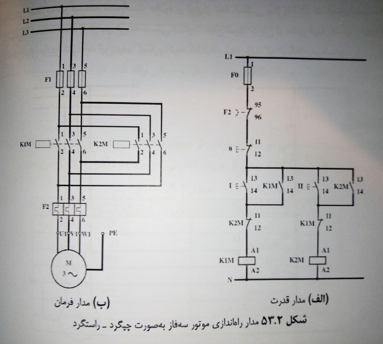 مدار راه اندازی موتور سه فاز به صورت چپ گرد راست گرد