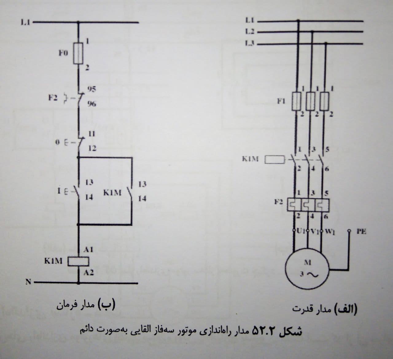 مدار راه اندازی موتور سه فاز القایی به صورت دائم
